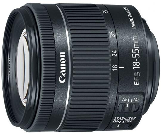 Объектив Canon EF-S IS STM (1620C005) 18-55мм f/4-5.6 черный цена