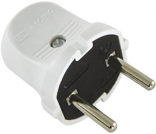 Вилка TDM SQ1806-0001 б/з белая 6А 250В вилка tdm sq1806 0007 угловая с з белая 16а 250в