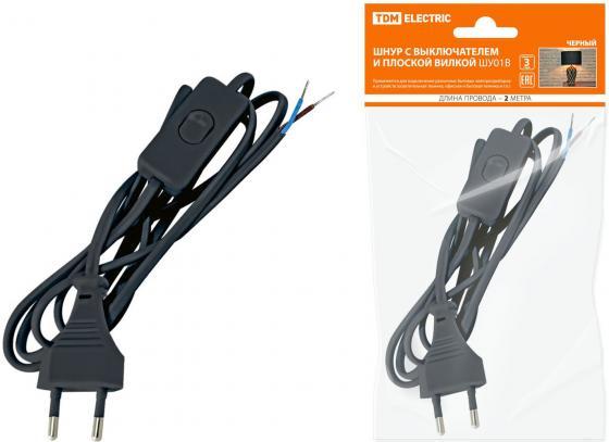 Шнур ТДМ SQ1305-0002 с выключателем и плоской вилкой ШУ01В ШВВП 2х0.75мм2 2м. черный