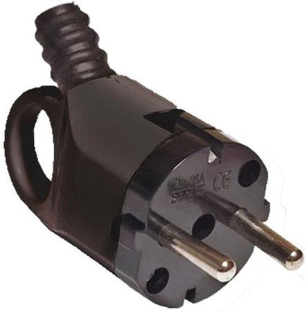 Вилка TDM SQ1806-0006 угловая с ушком с/з черная 16А 250В цена и фото