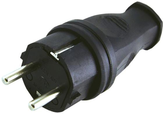 Вилка TDM SQ0612-0001 прямая каучук 2р+ре 16А 250В IP44 трехместная розетка с заглушками каучук tdm 2р ре 16а 250в ip44 sq0612 0008