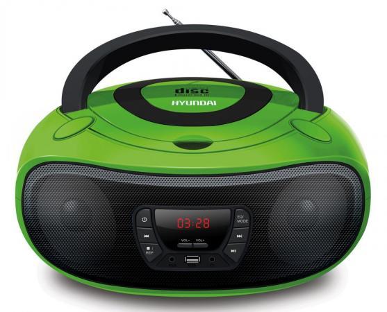 Аудиомагнитола Hyundai H-PCD260 зеленый/черный 4Вт/CD/CDRW/MP3/FM(dig)/USB/SD/MMC/microSD аудиомагнитола hyundai h pcd140 черный серый 4вт cd cdrw mp3 fm dig usb sd mmc