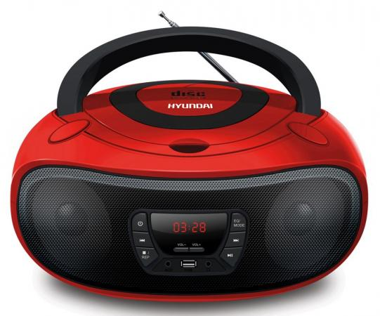 Аудиомагнитола Hyundai H-PCD280 красный/черный 4Вт/CD/CDRW/MP3/FM(dig)/USB/SD/MMC/microSD аудио для авто brand new 100 mp3 fm usb sd mmc lcd mp3