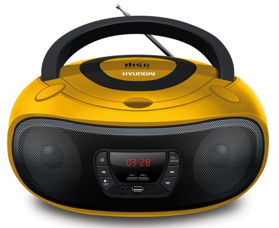 Аудиомагнитола Hyundai H-PCD300 желтый/черный 4Вт/CD/CDRW/MP3/FM(dig)/USB/SD/MMC/microSD цена и фото