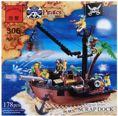 Конструктор ENLIGHTEN BRICK ПИРАТСКИЙ КОРАБЛЬ 178 элементов BRICK306 конструктор enlighten brick серия пираты пиратский корабль 188 деталей