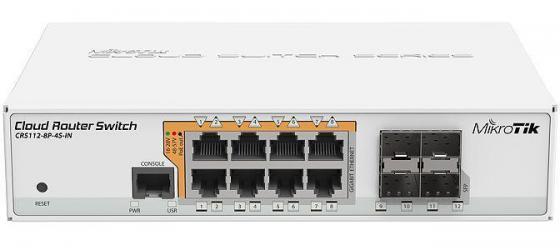 Коммутатор MikroTik CRS112-8P-4S-IN управляемый 8 портов 10/100/1000Mbps