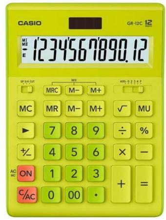 Калькулятор настольный Casio GR-12C-GN салатовый 12-разр. калькулятор настольный casio gr 12c pk 12 разрядный розовый