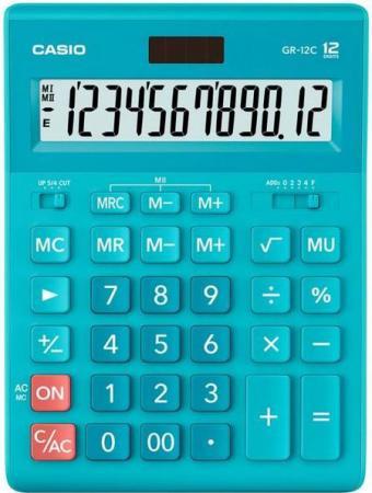 Калькулятор настольный Casio GR-12C-LB голубой 12-разр. калькулятор casio gr 12c gn 12 разрядный салатовый