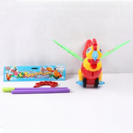 Каталка Play Smart ПЕТУХ С РУЧКОЙ пластик от 1 года на колесах разноцветный B586-H28021 развивающая игрушка play smart каталка кит вертолет разноцветный