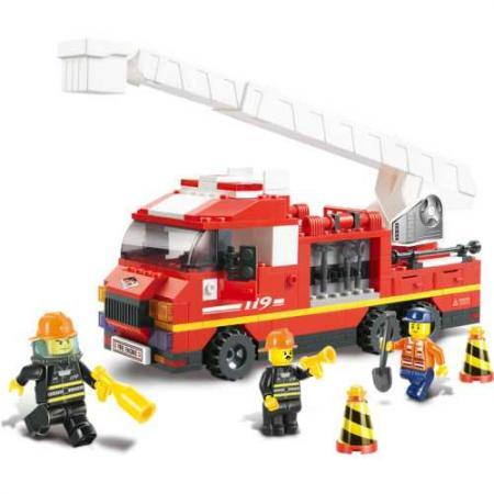 Конструктор SLUBAN Грузовик с выдвижной лестницей 267 элементов M38-B0221 конструктор sluban большой красный грузовик 345 элементов m38 b0338