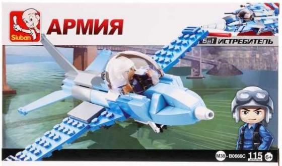 Конструктор SLUBAN Военный самолет 115 элементов M38-B0666C конструктор sluban космический трансформер военный самолет 331 элемент m38 b0257
