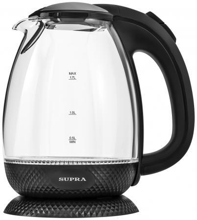 Чайник электрический Supra KES-2011 1.7л. 2200Вт черный (корпус: стекло) чайник электрический supra kes 1708 2200вт белый и фисташковый