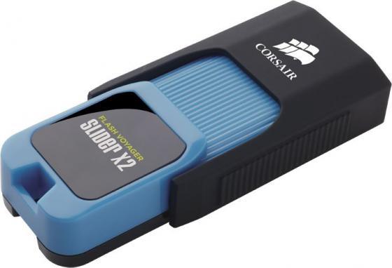 Флеш Диск Corsair 256Gb Voyager Slider X2 CMFSL3X2-256GB USB3.0 черный/голубой