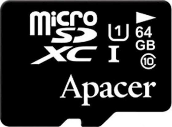 Micro SecureDigital 64Gb Apacer AP64GMCSX10U1-R {MicroSDHC Class 10 UHS-I U1, SD adapter} samsung micro sdhc tf card 64gb class 10 w tf to sd card adapter orange 64gb