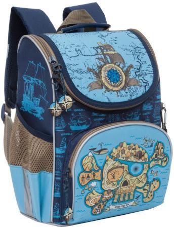 Рюкзак GRIZZLY RA-872-1/1 Череп (сине-голубой) с мешком для обуви grizzly grizzly рюкзак для старшеклассников череп 28 л