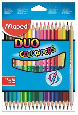 Набор цветных карандашей Maped Color Peps 18 шт двухсторонние 829601 maped карандаши цветные color peps треугольные 12 цветов maped