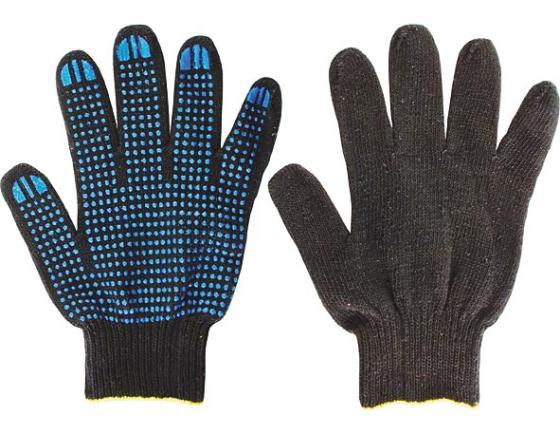 Перчатки вязаные FIT 12495 х/б с ПВХ, 4 нити, черные цена