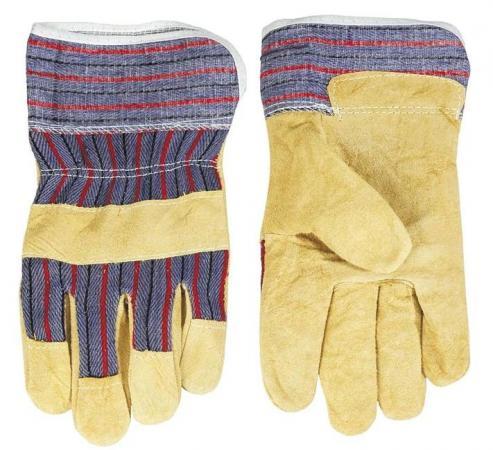 Перчатки спилковые TOPEX 83S110 желтый спилок размер 10.5 стеклодомкрат topex цвет желтый черный 80 кг
