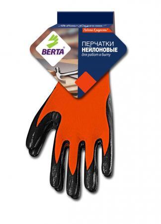 Перчатки БЕРТА 280 нейлоновые оранжевые с рельефным латексным покрытием цена
