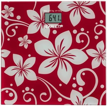 Весы напольные электронные Scarlett SC-BS33E088 макс.150кг темно-красный/рисунок