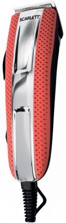 Машинка для стрижки Scarlett SC-HC63C15 красный/серебристый 6Вт (насадок в компл:4шт)