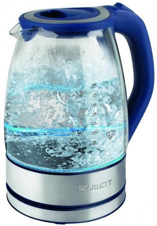 Чайник электрический Scarlett -EK27G46 2л. 2200Вт синий (корпус: стекло)