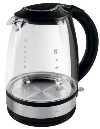Чайник электрический Scarlett SC-EK27G31 1.7л. 2200Вт черный (корпус: стекло) электрический чайник scarlett sc ek18p15
