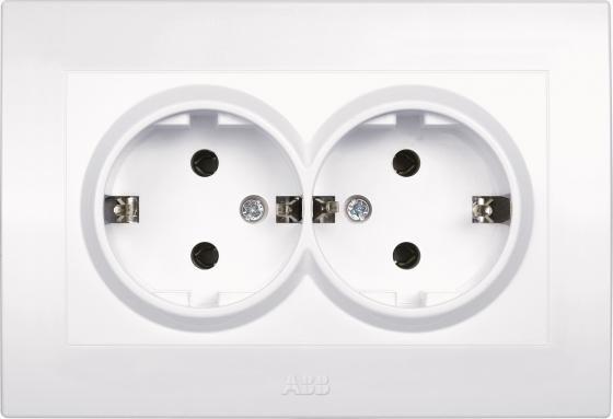 Розетка ABB COSMO 632-010200-908 белый б/з двойная