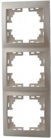 Рамка LEZARD 701-3000-153 серия Мира 3-ая вертикальная жемчужно-белый перламутр