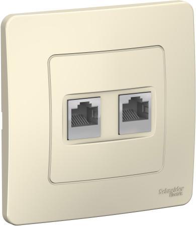 Розетка SCHNEIDER ELECTRIC BLNIS045452 Blanca компьютерная 2-м сп rj45 кат.5e молоч. розетка компьютерная о у schneider electric blanca белый