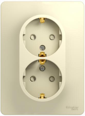 Розетка SCHNEIDER ELECTRIC 275193 Glossa 2-м сп с заземл. защ. шторки беж. gsl000226