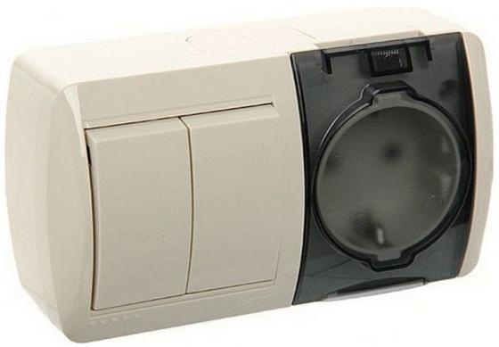 Блок LEZARD 710-0300-171 выкл.2кл.+розетка с/з крышка гориз. нар.проводки серии Ната белый