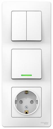 Блок SCHNEIDER ELECTRIC BLNBS101211 Blanca сп розетка 16А 250в+выкл. 1-кл. подсв.+выкл. 2-кл. бел.