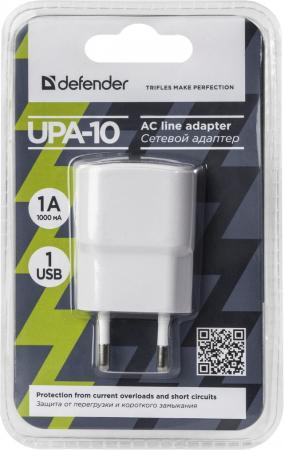 Сетевое зарядное устройство Defender UPA-10 1A белый 83540 сетевое зарядное устройство defender upa 40 5а 4 x usb черный