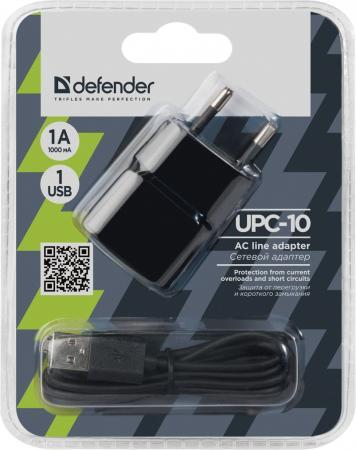Сетевое зарядное устройство Defender UPC-10 1A microUSB черный 83542 сетевое зарядное устройство oxion aca 006 microusb 2 1a черный
