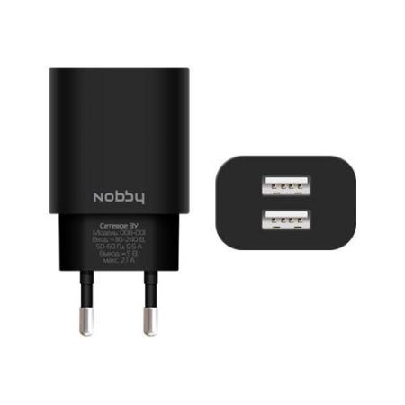 Сетевое зарядное устройство Nobby 0102NB-008-001 2.1A microUSB черный