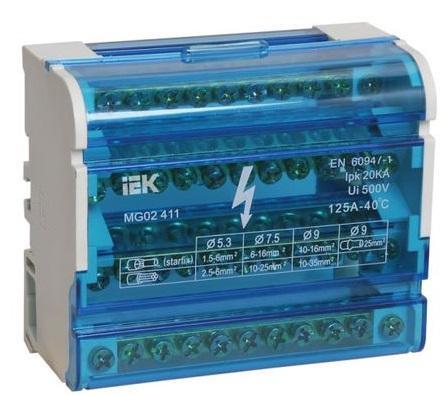 Iek YND10-4-11-125 Шины на DIN-рейку в корпусе (кросс-модуль) ШНК 4х11 3L+PEN ИЭК нулевая шина в корпусе 2х7 iek ynd10 2 07 100