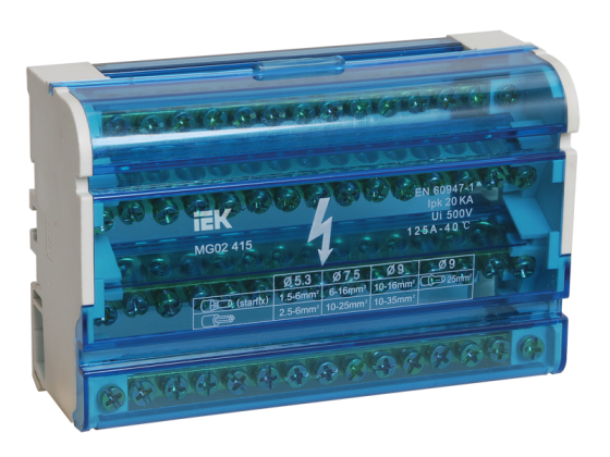 Iek YND10-4-15-125 Шины на DIN-рейку в корпусе (кросс-модуль) ШНК 4х15 3L+PEN ИЭК нулевая шина в корпусе 2х7 iek ynd10 2 07 100