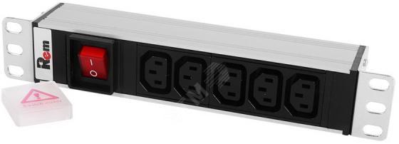 """ЦМО Блок розеток Rem-10 без шнура с выкл., 5 IEC 60320 C13, вход IEC 60320 C14, 10A, алюм., 10"""" (R-10-5C13-V-220-Z) цена"""