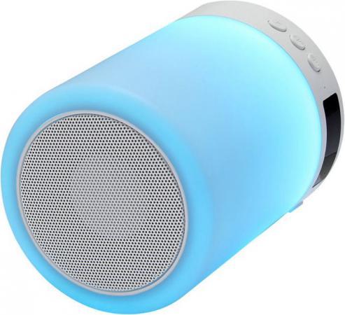 Ginzzu GM-893W, BT-Колонка 5W/LED/RGB/TF/AUX/FM/часы/будильник беспроводная bt колонка ginzzu gm 881b bt колонка 3w lcd usb tf aux fm часы будильник