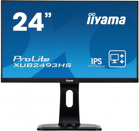 """Монитор 23.8"""" iiYama ProLite XUB2493HS-B1 черный IPS 1920x1080 250 cd/m^2 4 ms HDMI DisplayPort VGA Аудио цена и фото"""