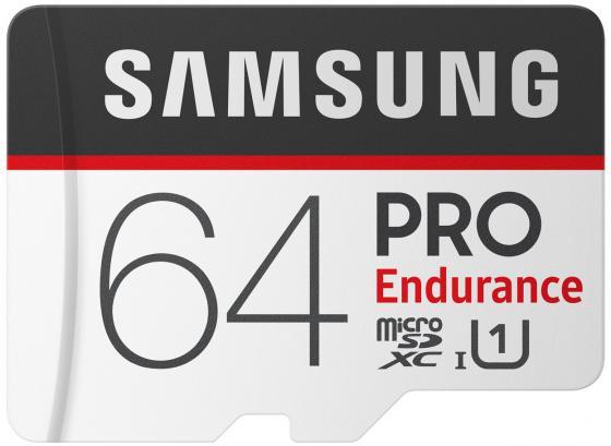 Карта памяти MicroSDXC 64GB Samsung PRO Endurance UHS-I SDR104 + SD Adapter (R100/W30Mb/s) (MB-MJ64GA/RU) micro securedigital 64gb sdhc samsung pro endurance class10 uhs i u1 mb mj64ga ru адаптер sd