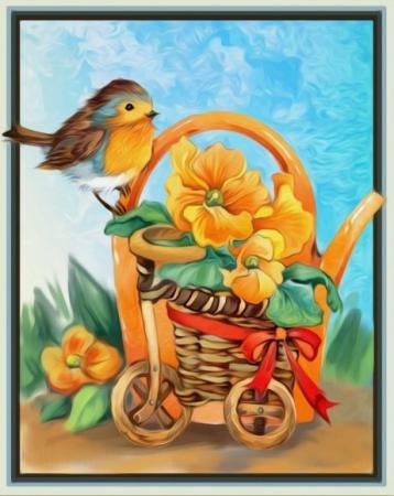 Алмазная живопись Веселая малиновка 24*30 стоимость