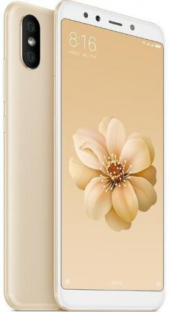 Смартфон Xiaomi Mi A2 4GB+64GB Gold блок питания accord atx 1000w gold acc 1000w 80g 80 gold 24 8 4 4pin apfc 140mm fan 7xsata rtl