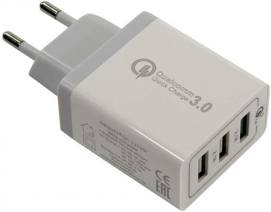 цена на Сетевое зарядное устройство ORIENT QC-12V3W 3 А 3 x USB белый