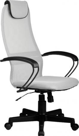 Кресло BP-8 PL № 24 сетка {светло-серая металлические подлокотники со вставкой экокожи}