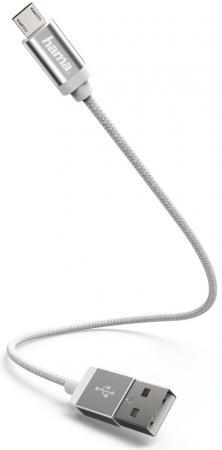 Фото - Кабель microUSB 0.2м HAMA 00178282 круглый белый кабель hama microusb usb type c черный 0 75м 00135713