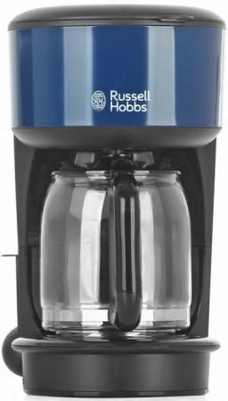 Кофеварка Russell Hobbs 20134-56, капельная, д/молотово, 1000Вт, 1.25л, автоподогрев, противокапля, черный/синий кофеварка moulinex fg360830 капельная 1000вт 1 25л черный
