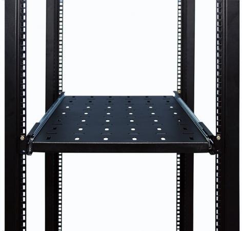 Полка 19 выдвижная с направляющими, чёрная L=450 мм, перфорированная, NT SSl450 B