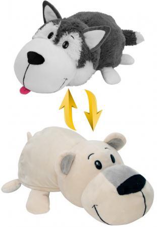 Мягкая игрушка Вывернушка 40 см 2в1 Хаски-Полярный медведь вывертапки хаски полярный медведь 1toy хаски полярный медведь текстиль белый серый 28 30 см